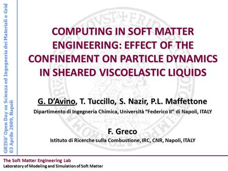 The Soft Matter Engineering Lab Laboratory of Modeling and Simulation of Soft Matter G. D'Avino, T. Tuccillo, S. Nazir, P.L. Maffettone COMPUTING IN SOFT.