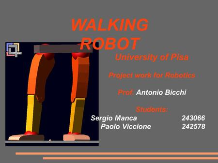 University of Pisa Project work for Robotics Prof. Antonio Bicchi Students: Sergio Manca243066 Paolo Viccione 242578 WALKING ROBOT.