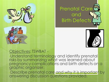 Prenatal Care and Birth Defects Objectives: TSWBAT - Understand terminology and identify prenatal risks by summarizing what was learned about pregnancy.