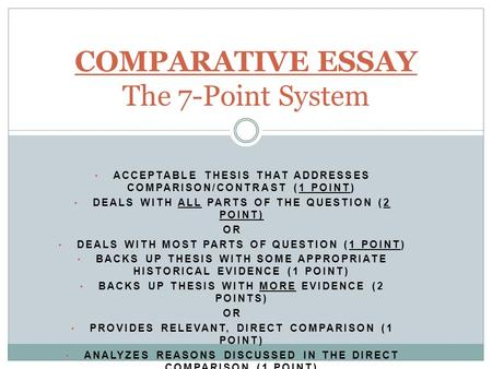 a thesis statement for a comparison/contrast essay This handout describes what a thesis statement is, how thesis statements work in your writing if your thesis and the body of your essay do not seem to go.