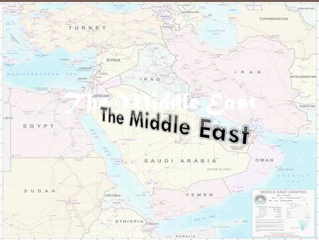 THE MIDDLE EAST 7 th Grade Social Studies The Middle East.