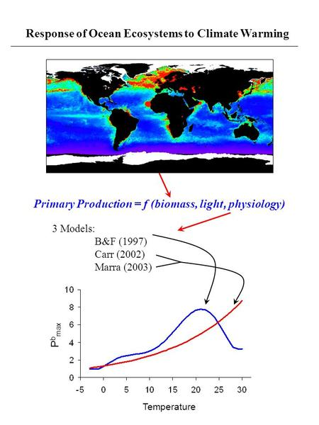 Response of Ocean Ecosystems to Climate Warming Temperature P b max 3 Models: B&F (1997) Carr (2002) Marra (2003) Primary Production = f (biomass, light,