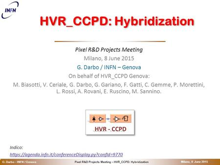 O Pixel R&D Projects Meeting – HVR_CCPD: HybridizationG. Darbo – INFN / Genova Milano, 8 June 2015 HVR_CCPD: Hybridization Pixel R&D Projects Meeting Milano,