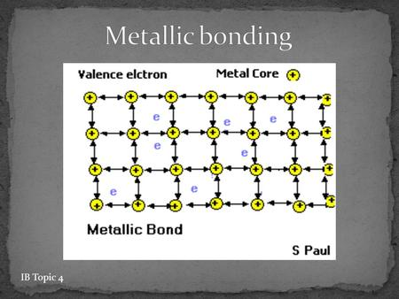 IB Topic 4. valence electrons detach from individual atoms since metals contain only 1-3 valence electrons no particular electron is confined to a particular.