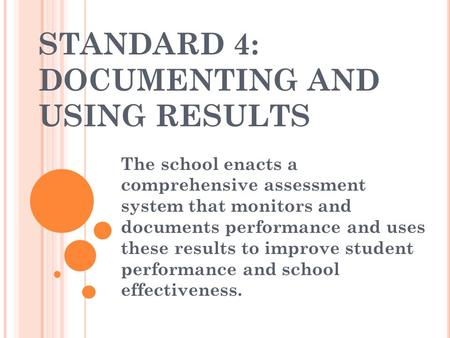 STANDARD 4: DOCUMENTING AND USING RESULTS The school enacts a comprehensive assessment system that monitors and documents performance and uses these results.