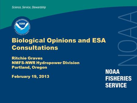Biological Opinions and ESA Consultations Ritchie Graves NMFS-NWR Hydropower Division Portland, Oregon February 19, 2013.