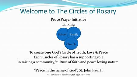 Peace Prayer Initiative Linking School Family Church To create one God's Circle of Truth, Love & Peace Each Circles of Rosary has a supporting role in.