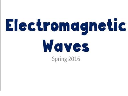 Electromagnetic Waves Spring 2016. REVIEW Since light has the same speed in the same material it travels at a constant speed until it enters a new material.