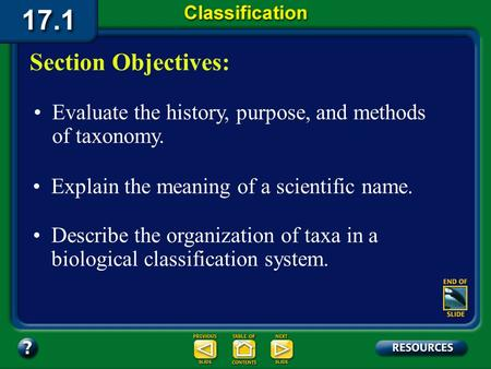 17.1 Section Objectives – page 443 Evaluate the history, purpose, and methods of taxonomy. Section Objectives: Explain the meaning of a scientific name.