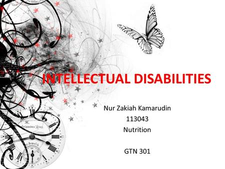 INTELLECTUAL DISABILITIES Nur Zakiah Kamarudin 113043 Nutrition GTN 301.