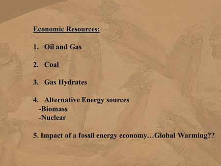 Economic Resources: 1.Oil and Gas 2.Coal 3.Gas Hydrates 4.Alternative Energy sources -Biomass -Nuclear 5. Impact of a fossil energy economy…Global Warming??