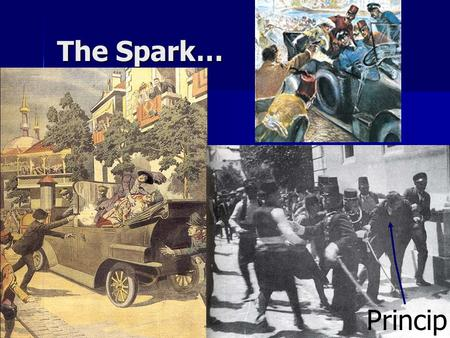 The Spark… Princip. The Chain Reaction Austria issues Serbia with an ultimatum, but decides to declare war even when Serbia accepts all the points but.