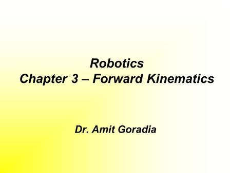 Robotics Chapter 3 – Forward Kinematics