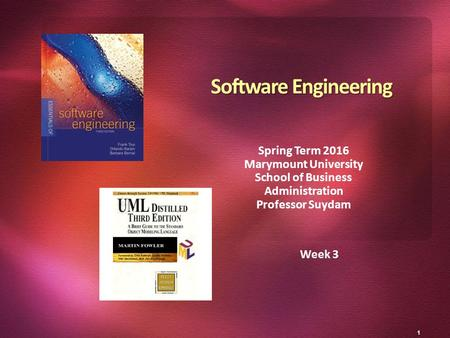 1 Week 3 Software Engineering Spring Term 2016 Marymount University School of Business Administration Professor Suydam.