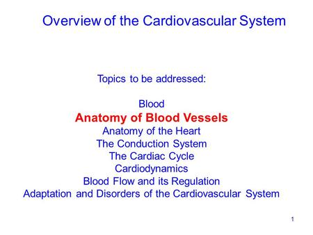 1 Topics to be addressed: Blood Anatomy of Blood Vessels Anatomy of the Heart The Conduction System The Cardiac Cycle Cardiodynamics Blood Flow and its.