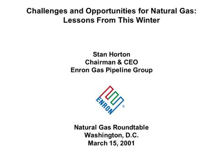 Challenges and Opportunities for Natural Gas: Lessons From This Winter Stan Horton Chairman & CEO Enron Gas Pipeline Group Natural Gas Roundtable Washington,