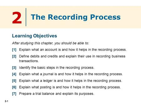 2-1 2 Learning Objectives After studying this chapter, you should be able to: [1] Explain what an account is and how it helps in the recording process.