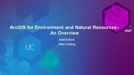 ArcGIS for Environment and Natural Resources– An Overview Matt Bullock Nikki Golding.