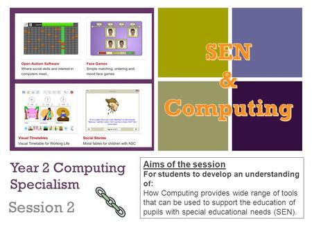 + Year 2 Computing Specialism Session 2 Aims of the session For students to develop an understanding of: How Computing provides wide range of tools that.