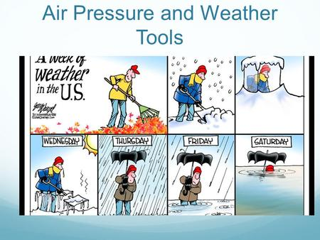 Air Pressure and Weather Tools. Air Pressure Air pressure is the force applied by the weight of all the air above an area. Think of a tall column of air.