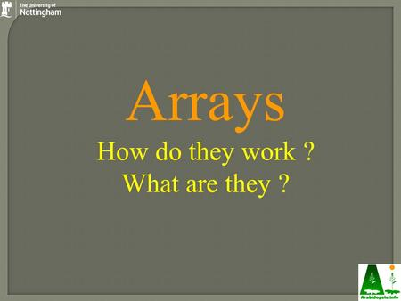 Arrays How do they work ? What are they ?. WT Dwarf Transgenic Other species Arrays are inverted Northerns: Extract target RNA YFG Label probe + hybridise.