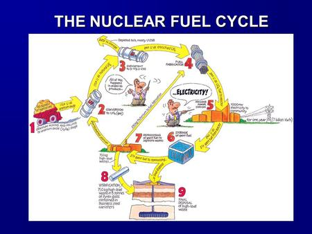 THE NUCLEAR FUEL CYCLE. The Nuclear Fuel Cycle consists of sequence of steps in which U ore is mined, milled, enriched, and fabricated into nuclear fuel.
