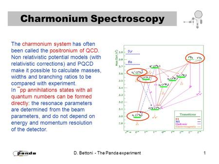 D. Bettoni - The Panda experiment 1 Charmonium Spectroscopy The charmonium system has often been called the positronium of QCD. Non relativistic potential.