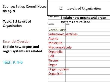 Sponge: Set up Cornell Notes on pg. 9 Topic: 1.2 Levels of Organization Essential Question: Explain how organs and organ systems are related. Text: P.