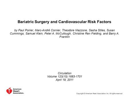 Bariatric Surgery and Cardiovascular Risk Factors by Paul Poirier, Marc-André Cornier, Theodore Mazzone, Sasha Stiles, Susan Cummings, Samuel Klein, Peter.