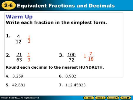 Equivalent Fractions and Decimals - ppt video online download