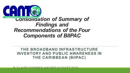 Consolidation of Summary of Findings and Recommendations of the Four Components of BIIPAC THE <strong>BROADBAND</strong> INFRASTRUCTURE INVENTORY AND PUBLIC AWARENESS IN.