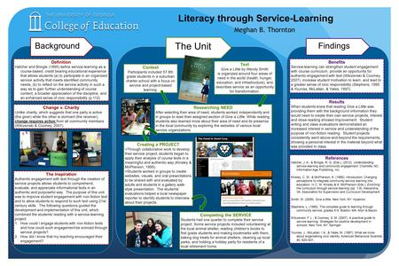 Literacy through Service-Learning Meghan B. Thornton BackgroundFindings The Unit Definition Hatcher and Bringle (1995) define service-learning as a: course-based,