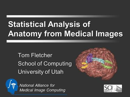 Statistical Analysis of Anatomy from Medical Images Tom Fletcher School of Computing University of Utah National Alliance for Medical Image Computing.
