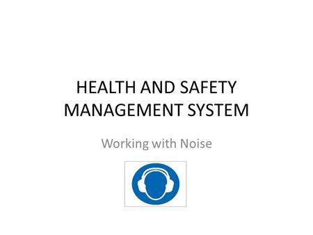 HEALTH AND SAFETY MANAGEMENT SYSTEM Working with Noise.