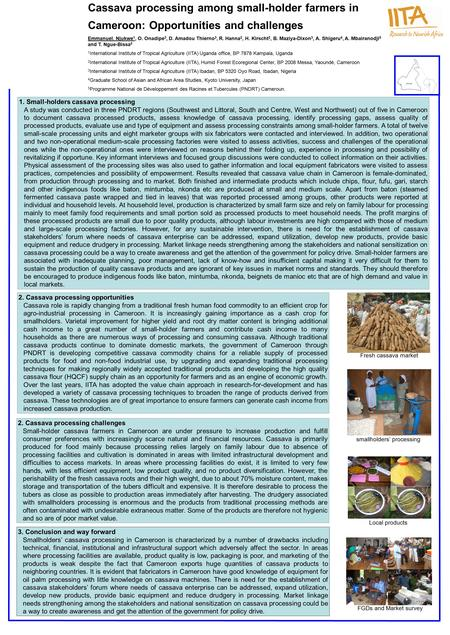Cassava processing among small-holder farmers in Cameroon: Opportunities and challenges Emmanuel. Njukwe 1, O. Onadipe 3, D. Amadou Thierno 3, R. Hanna.