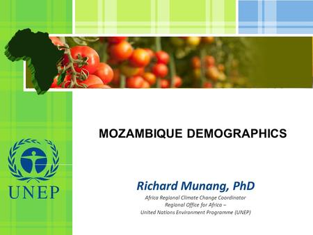 MOZAMBIQUE DEMOGRAPHICS Richard Munang, PhD Africa Regional Climate Change Coordinator Regional Office for Africa – United Nations Environment Programme.