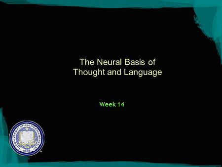 The Neural Basis of Thought and Language Week 14.