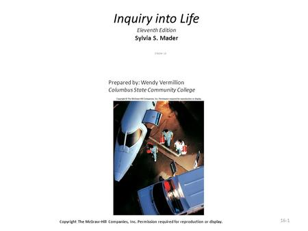 16-1 Inquiry into Life Eleventh Edition Sylvia S. Mader Chapter 16 Prepared by: Wendy Vermillion Columbus State Community College Copyright The McGraw-Hill.