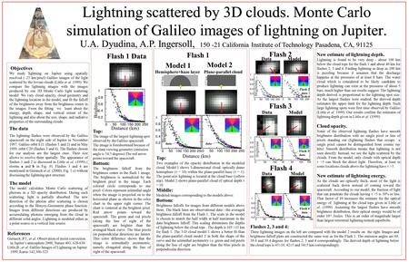 U.A. Dyudina, A.P. Ingersoll, 150 -21 California Institute of Technology Pasadena, CA, 91125 Objectives We study lightning on Jupiter using spatially resolved.