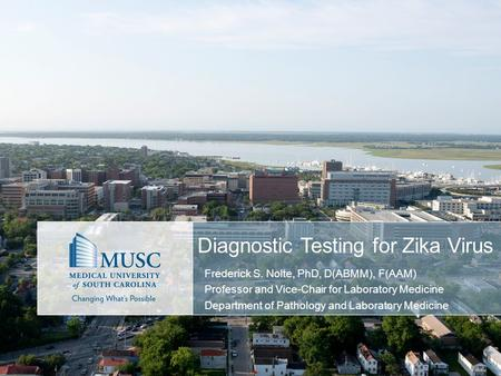 Diagnostic Testing for Zika Virus Frederick S. Nolte, PhD, D(ABMM), F(AAM) Professor and Vice-Chair for Laboratory Medicine Department of Pathology and.