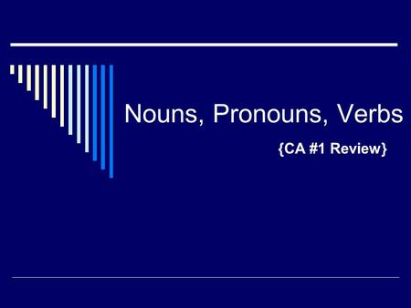 Nouns, Pronouns, Verbs {CA #1 Review}. Noun review  What is a noun? a person, place, thing, or idea  What isn't a noun? pronouns – I, he, they, anyone.