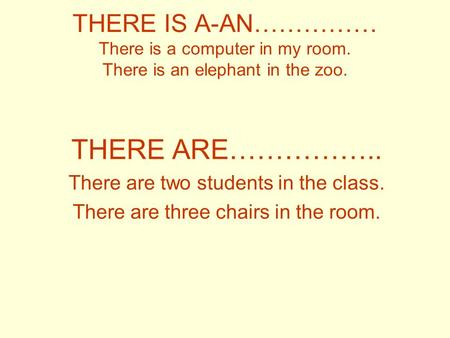THERE IS A-AN…………… There is a computer in my room. There is an elephant in the zoo. THERE ARE…………….. There are two students in the class. There are three.