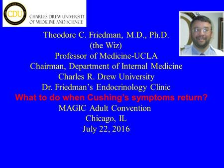 Theodore C. Friedman, M.D., Ph.D. (the Wiz) Professor of Medicine-UCLA Chairman, Department of Internal Medicine Charles R. Drew University Dr. Friedman's.