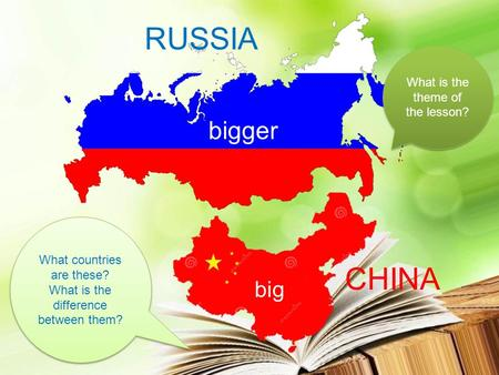 What countries are these? What is the difference between them? What is the theme of the lesson? big bigger CHINA RUSSIA.