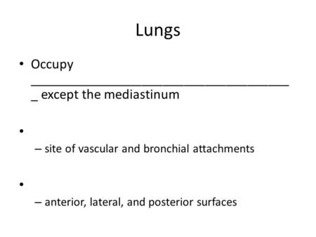Lungs Occupy _____________________________________ _ except the mediastinum – site of vascular and bronchial attachments – anterior, lateral, and posterior.