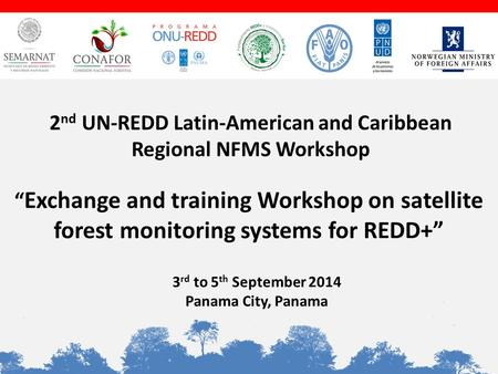 """ Exchange and training Workshop on satellite forest monitoring systems for REDD+"" 3 rd to 5 th September 2014 Panama City, Panama 2 nd UN-REDD Latin-American."