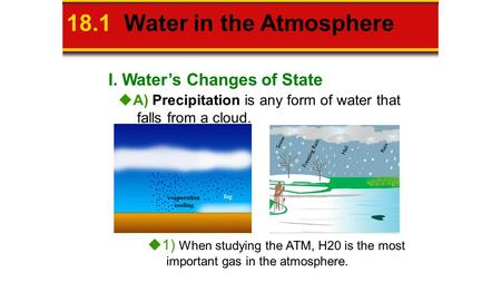 I. Water's Changes of State 18.1 Water in the Atmosphere  A) Precipitation is any form of water that falls from a cloud.  1) When studying the ATM, H20.