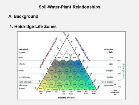Soil-Water-Plant Relationships A. Background 1. Holdridge Life Zones 1.