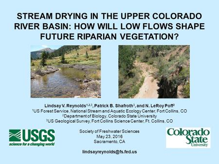 STREAM DRYING IN THE UPPER COLORADO RIVER BASIN: HOW WILL LOW FLOWS SHAPE FUTURE RIPARIAN VEGETATION? Lindsay V. Reynolds 1,2,3, Patrick B. Shafroth 3,