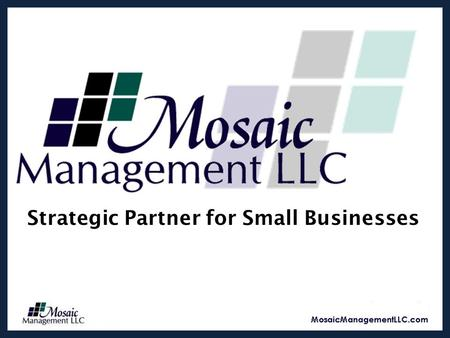 Strategic Partner for Small Businesses. Mission Statement The mission of Mosaic Management LLC is to understand the client's business, challenges and.